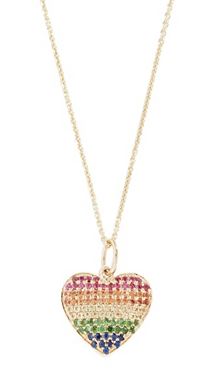 Rainbow Heart Necklace 14K Yellow Gold