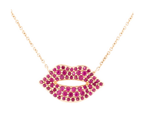 14K RUBY LIPS PENDANT NECKLACE