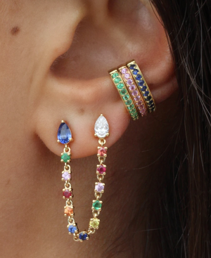 DOUBLE PIERCING PEAR MULTI-COLORED DIAMOND AND FINE GEMSTONE LOOP EARRING - Millo Jewelry