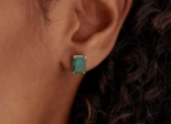 emerald solitaire studs - Millo Jewelry