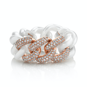3 Pave & White Ceramic Medium Link Ring - Millo Jewelry