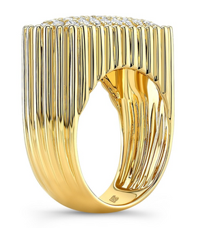 14K Diamond Fluted Signet Ring - Millo Jewelry