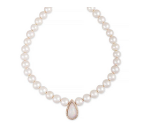Freshwater Pearl Beaded Necklace with Pave Opal Teardrop Center - Millo Jewelry