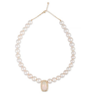 Freshwater Pearl Beaded Necklace with Pave Opal Rounded Rectangle Center - Millo Jewelry