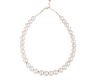 Pave Rondelle Freshwater Pearl Beaded Necklace - Millo Jewelry