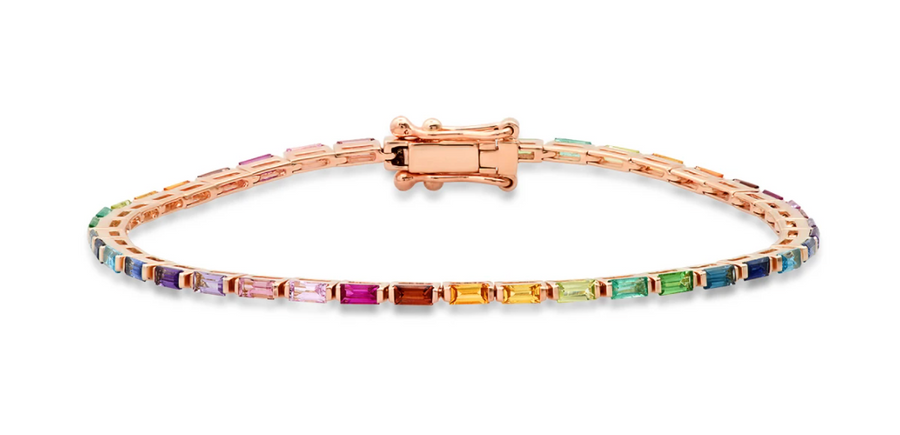 RAINBOW BAGUETTE TENNIS BRACELET - Millo Jewelry