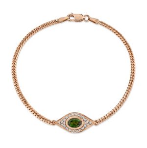 14K Gold Diamond Oval Green Tourmaline Evil Eye Bracelet - Millo Jewelry