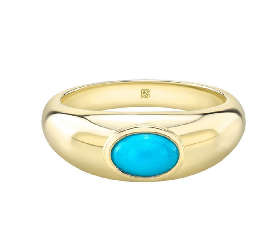 Gold Bezel Set Turquoise Dome Ring - Millo Jewelry