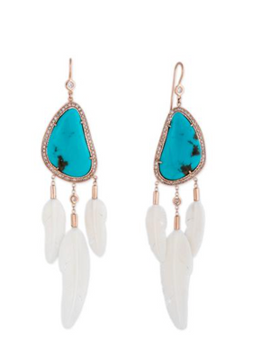 Pave Turquise+ 3 White Feather Earrings