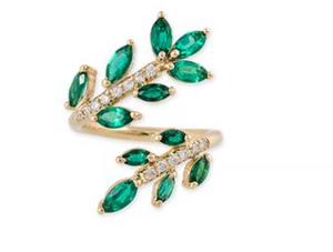 Pave Emerald Marquise Vine Wrap Ring - Millo Jewelry