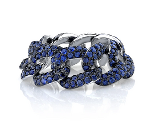 Blue Sapphire Pave Essential Link Ring - Millo Jewelry