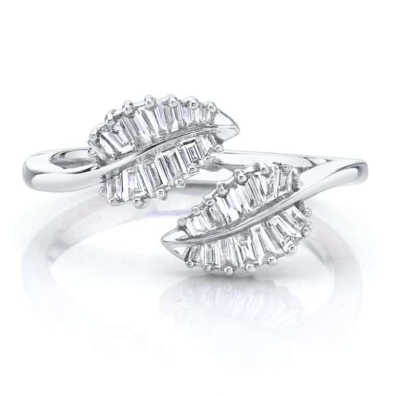 SMALL PALM LEAF DIAMOND RING