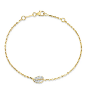SMALL PALM LEAF DIAMOND CHAIN BRACELET
