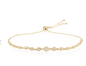 14K LINKED GRADUATED DIAMOND TENNIS BOLO BRACELET - Millo Jewelry