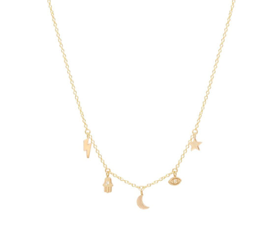14K CELESTIAL DIAMOND ITTY BITTY DANGLE NECKLACE - Millo Jewelry
