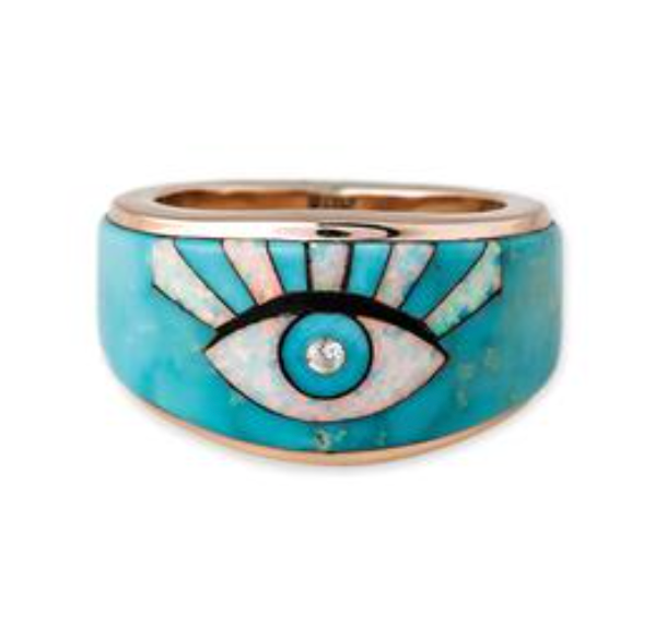 Diamond Turquoise - Opal Eye Burst Inlay Rays Ring - Millo Jewelry