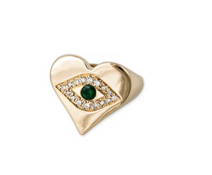 Emerald Center Pave Eye Heart Shape Ring - Millo Jewelry