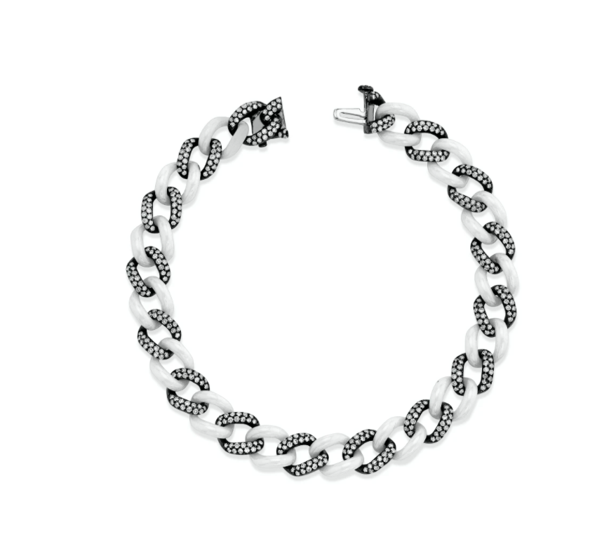 DIAMOND PAVE & WHITE CERAMIC MEDIUM LINK BRACELET - Millo Jewelry