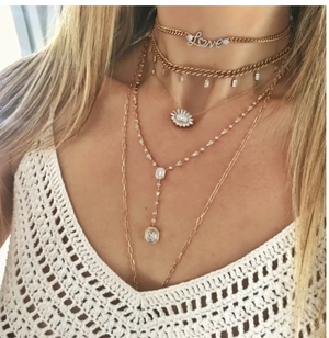 MIXED DIAMOND DOUBLE DROP ILLUSION Y NECKLACE - Millo Jewelry