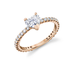 DIAMOND SOLITAIRE HEART PINKY RING - Millo Jewelry