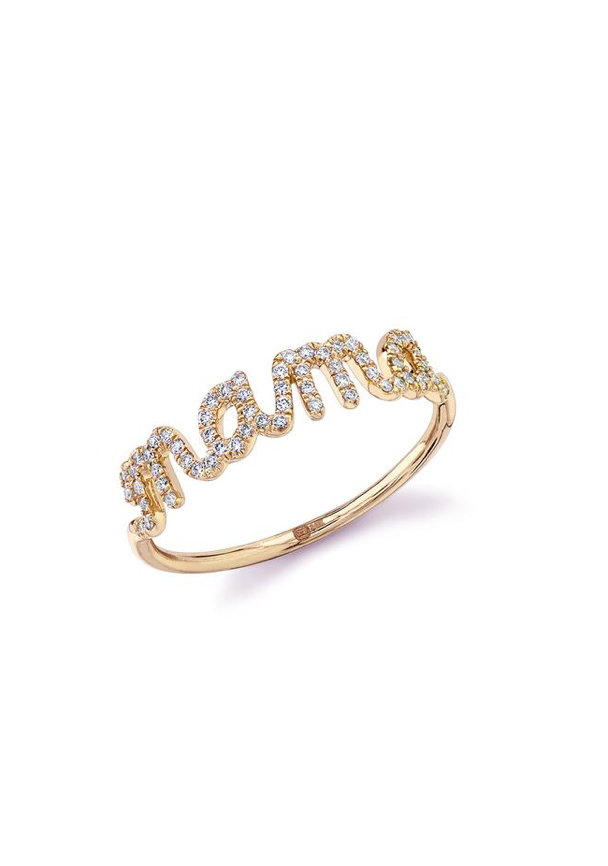 Gold & Diamond Mama Script Ring - Millo Jewelry