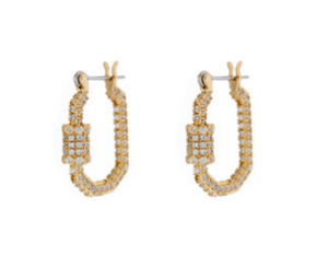 Pave Carabiner Hoops - Millo Jewelry
