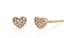 14K GOLD DIAMOND MINI HEART EARRING Single - Millo Jewelry