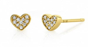 14K GOLD DIAMOND MINI HEART EARRING Single