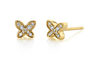 14K YELLOW GOLD DIAMOND MINI BUTTERFLY EARRING Single