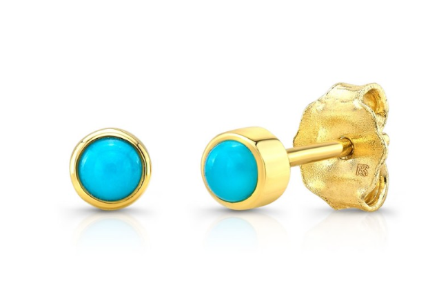14K YELLOW GOLD BEZEL SET TURQUOISE STUD EARRING Single
