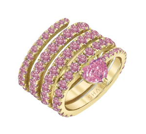 PINK SAPPHIRE SPIRAL HEART PINKY RING - Millo Jewelry
