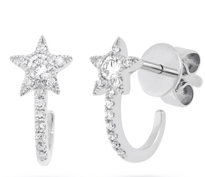 Pave Star Huggies - Millo Jewelry