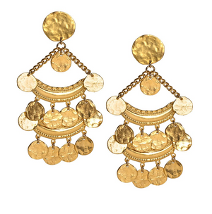 Satin Gold Two Row Coin Drop Clip Earring