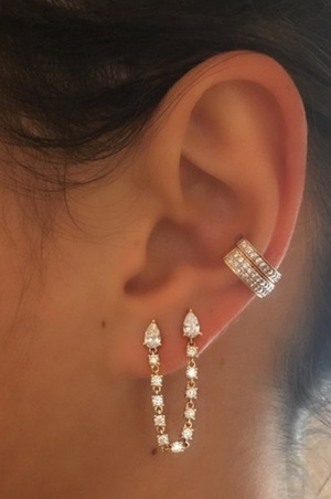 Double piercing pear loop earring