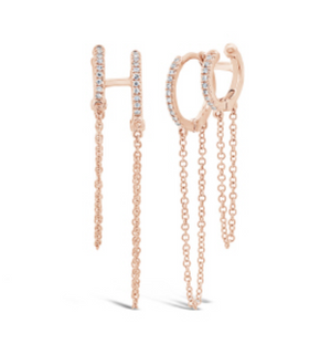 Huggie with cuff and hanging chains - Millo Jewelry