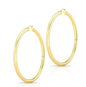 "14K Yellow Gold 3"" Tube Hoops - Millo Jewelry"