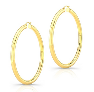 "14K Yellow Gold 2.75"" Tube Hoops - Millo Jewelry"