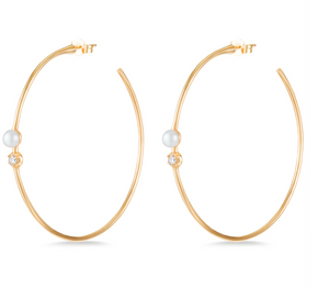 Pearl Rosette Hoops - Millo Jewelry