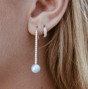 Diamond Pearl Stick Earrings