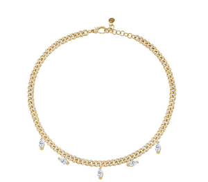 Marquise Drop Pave Link Necklace