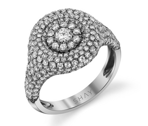 Pave Circle Pinky Ring - Millo Jewelry