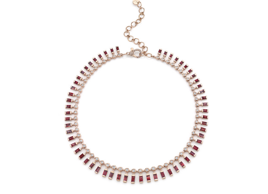 Dot Dash Gemstone & Diamond Necklace