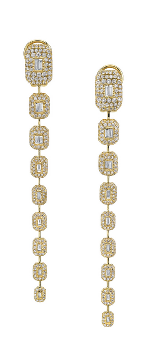 9 Pave Baguette Drop Earrings