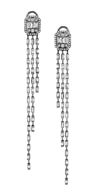 Illusion Waterfall Baguette Earrings