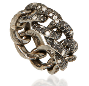 Jumbo Twinkle Black Diamond Link Ring