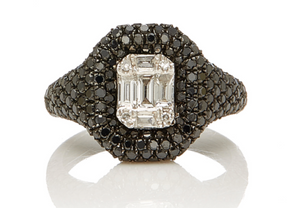 Jumbo Baguette Cut Diamond Pave Pinky Ring