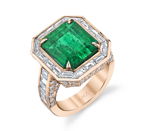 Baguette Halo Emerald Cocktail Ring - Millo Jewelry