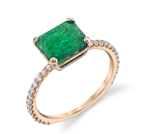 Zambian Emerald Solitaire Ring