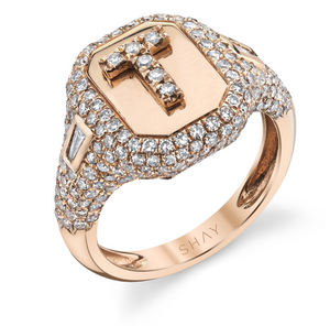 Partial Pave Initial Pinky Ring Rose Gold