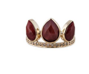 Pave Sunstone Petal Crown Ring